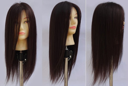 Wholesale 55cm brown normal fiber hair hairdressing head for training pratice hair cutting mannequin head