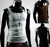Wholesale Hot Men s Vest Shirt Men s MODEL Slim Straitjacket Corsetry Sleeveless Garment T shirts gray