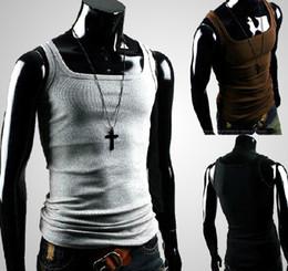 Hot Men's Vest Shirt Men's MODEL Slim Straitjacket Corsetry Sleeveless Garment T-shirts gray 2158-2