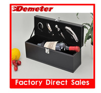 Wholesale ZK Leather Wine Bag wine tools Black Color one bottle holder package with wine accessories