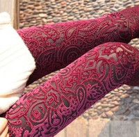 gold leggings - 2014 Spring New Women s Pants Leggings Laser Embroidery Pattern Gold Velvet Backing Pants Piece