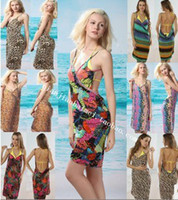 Wholesale Deep V neck sun crossing beach dress clothes skirt Bikini skirt Wrap Dress sarong cover ups Criss