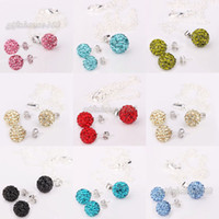Wholesale 50 OFF Shamballa Jewelry Set Silver Chain mm CZ Crystal Ball Pendant Necklace Stud Earrings Mix Color