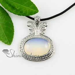 oval amethyst rose quartz opal tigereye gemstone silver jewelry natural stone necklac pendant Spsp1006TC0 wholesale gemstone jewellery