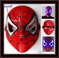 Wholesale Spider Man Mask LED Light Up Spiderman Halloween Cosplay Toy F Kids Child