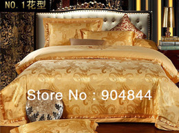 2017 high quality yellow GOLDEN LUXURY COTTON SILK BLEND JACQUARD 4pc Bedding Set BEDING DUVET COVER SET