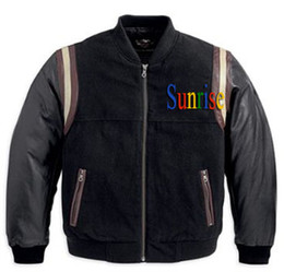 Wholesale Men s Bomber Jacket with leather Sleeves