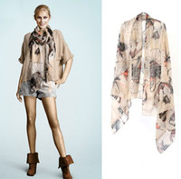Wholesale Begonia Flowers Scarf Mufflers Female Models Huge Shawl Bib Scarves