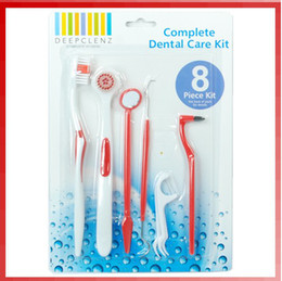 Wholesale 8 Piece Dental Care Tooth Brush Kit Floss Stain Tongue Picks Teeth Denticlean