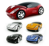 Wholesale Cool Crystal box packing Ferrari car shape wireless mouse GHz USB RF optical Laptop Blue ray Mice
