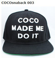 Wholesale New arrival COCO MADE ME DO IT snapback hats COMME DES FUCKDOWN snap back cap mix order