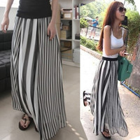 Chiffon maxi - Classic Long Skirts Irregular Stripes Full length Maxi Chiffon Dress Color