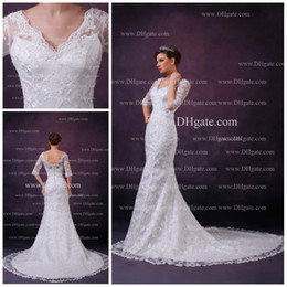 Wholesale 2013 Newest v neckline open back appliqued lace long train white mermaid wedding dress AK