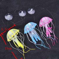 Wholesale Glowing Jellyfish for Aquarium Fish Tank Garden Pool Ornament Decor EMS