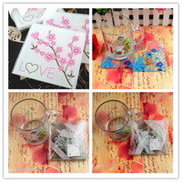 Wholesale Romantic Pink Flower Print Glass Coaster Wedding Favors Party Gifts Pack Glass Coasters Holders