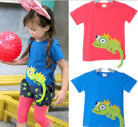 baby embroidered t shirts - Kids Tee shirt baby clothes girls and boys wear T Shirt embroidered animals children lizard T Shirts