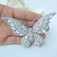 Wholesale Gorgeous Butterfly Brooch Pin w Clear Rhinestone Crystals EE04538C13