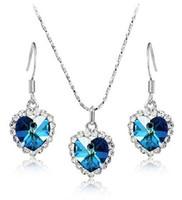 Wholesale 10sets Crystal Heart Ocean Titanic Necklace Pandant Earrings Set mixed Colors
