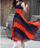 Casual Dresses V_Neck Ankle Length 2pc Elegant Boho Bohemian Chiffon Pleated Stripes Summer Beach Long Maxi Dress 70420