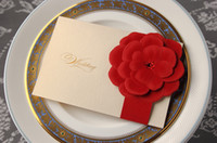 Wholesale Elegant Red Rose Wedding invitations wedding cards personalized invitations Fast shipping