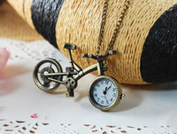 Wholesale Fashion bicycle alloy vintage necklace pocket watch bike necklace women s decoration watch