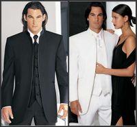 Reference Images Wool Blend Regular Custom Design Size and Color No Button Groom Tuxedos Groomsmen Mandarin Collar Men Wedding Suits(Jacket+Pants+Tie+Waistcoat)H98