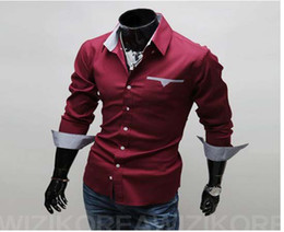 Wholesale 2013 Men Slim Shirt Long Sleeved Shirt New Fashion Mens Casual Shirts and Retail Free Ship