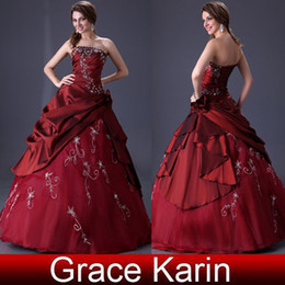 Wholesale Stock Royal Burgundy Ball Gown Quinceanera Dresses Strapless Ruffle Wedding Gown Dress CL2516