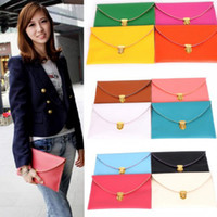 Women Plain PU Womens Envelope Clutch Bags Chain Purse Lady Handbag Fashion Tote Shoulder Hand Bag Wallet Retail