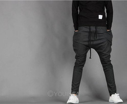 Wholesale baggy cargo harem pants men sports overalls casual trousers Black Dark gray L XL XXL
