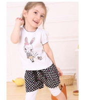 Wholesale 2013 Summer baby sets kids outfits girls bunny false therr pie relaxation short sleeve short pants