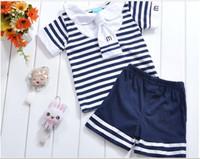 baby sailor - 0 Year Baby clothing New pure cotton blue stripe short sleeve t shirt shorts navy sailor kids set boys girls suit