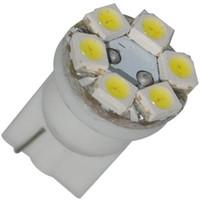 SMD SMT LED Bulbs T10 Wedge 20pcs lot T10 168 194 6 SMD LED License plate Instrument panel Side marker Light Bulb free shipping