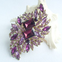Wholesale 3 quot Flower Brooch pin w Purple Rhinestone crystals EE04079C4
