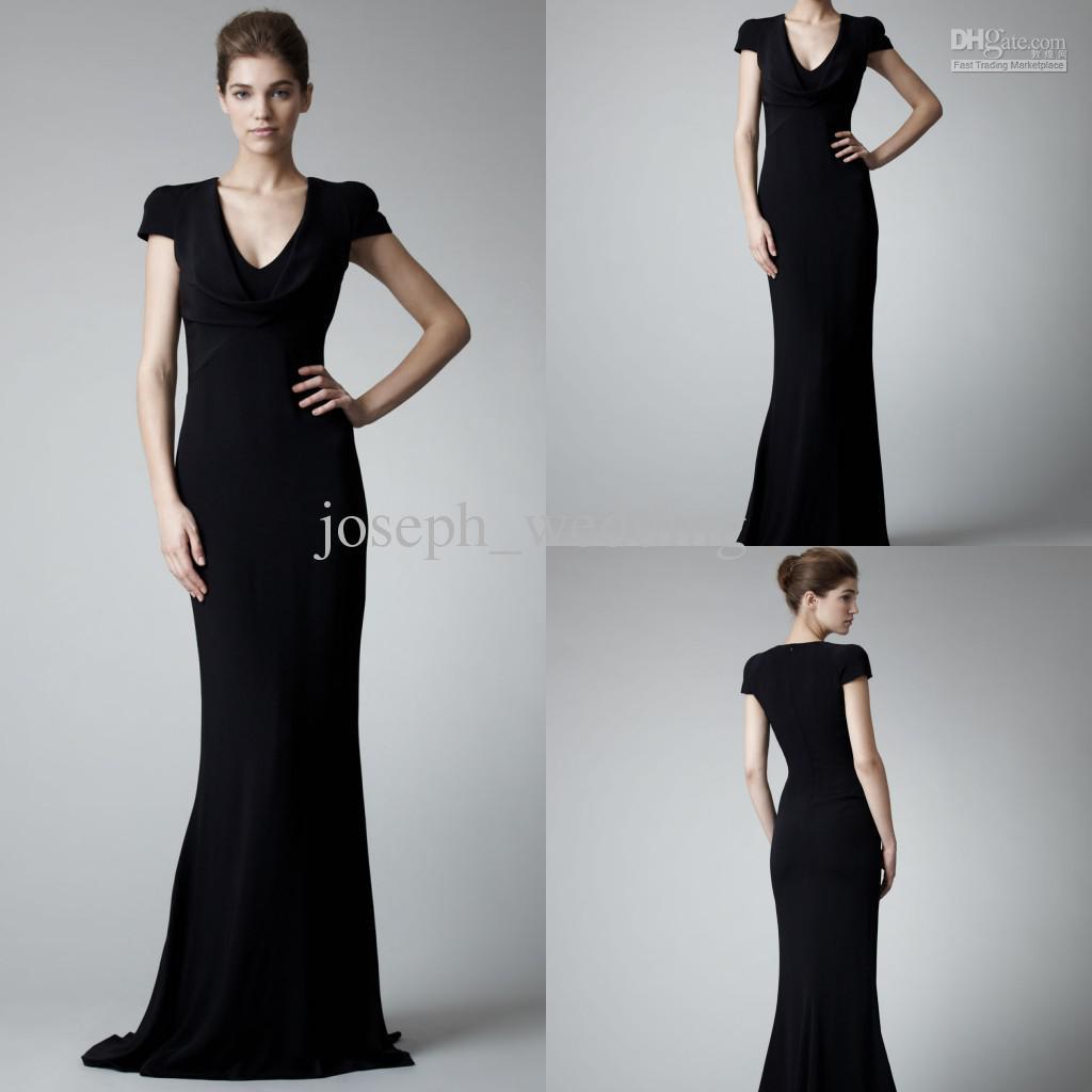 Black gloves evening wear - Zed 094 Fitted Cap Sleeve Deep V Neckline Black Long Formal Evening Dress Gown For