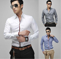 Casual Men Cotton 2013 Hot Sale Mens Clothes Shirt Brand Men New Shirt Slim Fit Silk Sleeve Luxury Dress Shirts 4 Colo