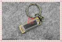 Wholesale Mini Harmonica Key rings Keychain SWAN Harmonica hole Tone Key of C