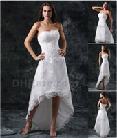 high low wedding dress - 2015 Beach Summer A Line Bridal Gowns Strapless Beaded Lace Appiques High Low Wedding Dresses DH00340