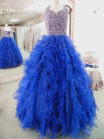 Real Photos Ankle-Length Organza 2014 New SHINY V-neck Beads Tiffany Glitz 33405 Sapphire kids GIRLS NATIONAL TEEN PAGEANT DRESSES