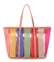 Wholesale 2013 New Style Women s Transparent Summer Beach Totes Candy Coor Striped Shoulder Bags JAFS