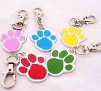 Wholesale new High Quality pc dog paw color Alloy Pet Dog Cat ID Card Tags Necklace ornaments Keychain
