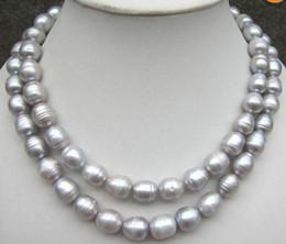 12-13mm Natural South Sea Gray Baroque Pearl Necklace 35 Inch 925 Silver Clacp