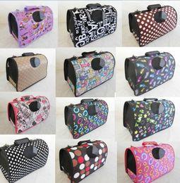 2017 pet care fashion 6 color S-L folding size pet dog comfortable suitcase crates carriers totes package