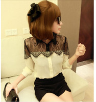 Wholesale fashion new women sexy blouse Autumn black lace small fragrant wind long sleeve tops