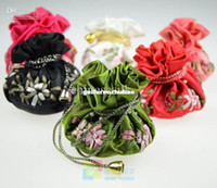 Wholesale Cloth Jewelry Pouches Ring Bags Chinese Silk Embroidered Gift Packaging mix color Free