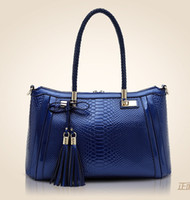 real leather handbags - Women Real Genuine Leather Snake Print Handbag Shoulder Bags with Macrame