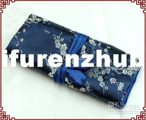 Wholesale Makeup Bags - Buy Navy Blue Big Silk Cosmetic Roll Bag