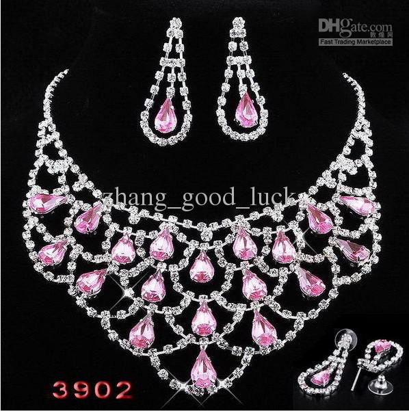 Pink bridal jewelry set rhinestone necklace earrings for Pink wedding jewelry sets