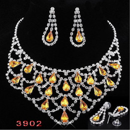 Wholesale yellow Bridal Jewelry Set rhinestone necklace earrings suits bride adorn