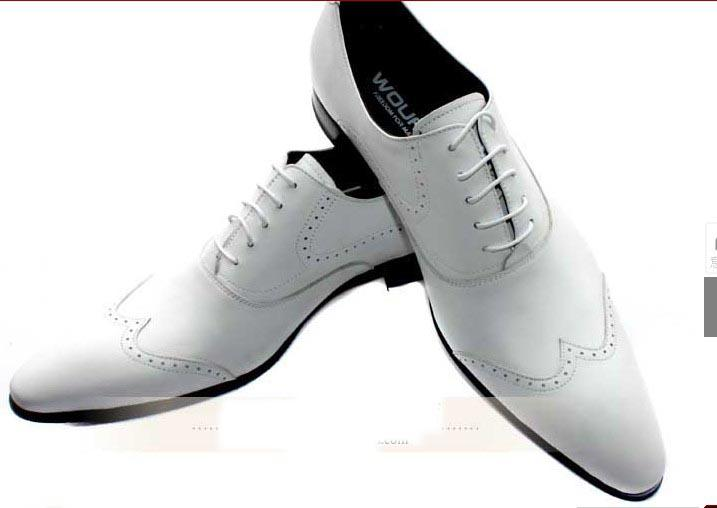 WOUFO British White Wedding Shoes Men's Genuine Leather Fashion ...